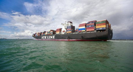 Container Ship, sails from Southampton