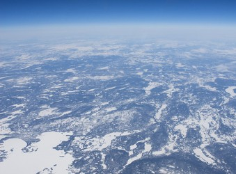 High altitude view of the frozen Canadian tundra