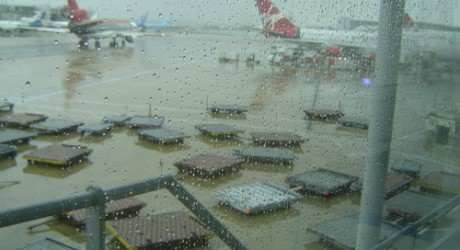 Gatwick Airport on a rainy afternoon