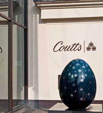 Faberge egg in front of Coutts on the Strand, London