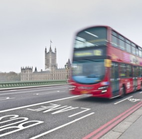 Modern double-decker bus in London