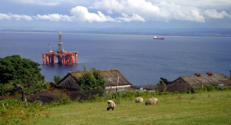 Oil rig, off the coast of Scotland