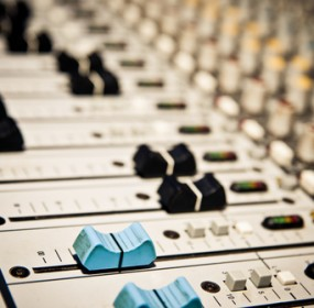 Music mixer in a studio